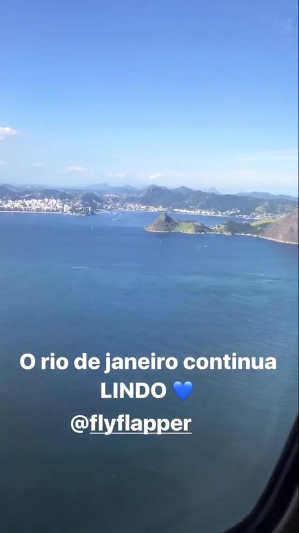 Giovanna Ewbank: vista do avião (Foto: Reprodução/Instagram)