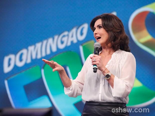 Fátima Bernardes participa do quadro 'Eu acho' neste Domingão (Foto: Raphael Dias/ TV Globo)