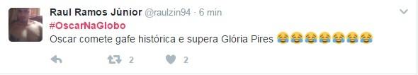 Internautas relembram participação de Glória Pires no Oscar 2016 (Foto: Reprodução/Twitter)