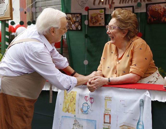 Francisco Couco e Aracy Balabanian ensaiam cena de Gaetano e Geppina (Foto: Ellen Soares/Gshow)
