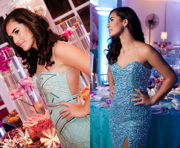 Lívian Aragão arrasa em modelos azuis em sua festa de 15 anos (Foto: Arquivo Pessoal)