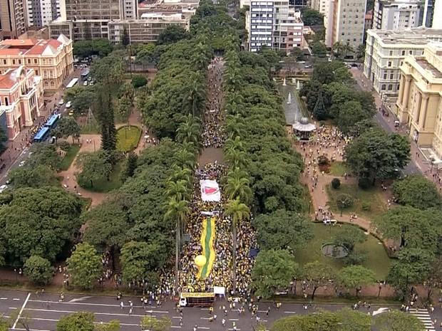 Praça da Liberdade é ocupada por manifestantes em Belo Horizonte (Foto: Reprodução/TV Globo)