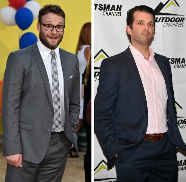 O ator Seth Rogen e o epresário Donald Trump Jr (Foto: Getty Images)