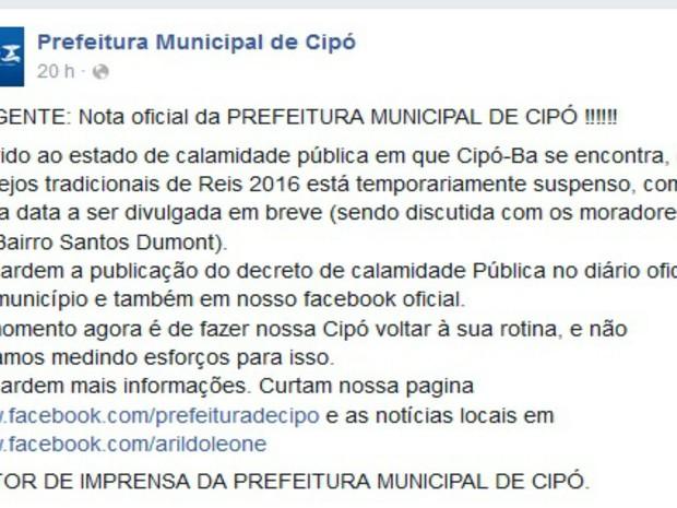 Prefeitura usou rede social para informar sobre o cancelamento da festa (Foto: Reprodução / Facebook)