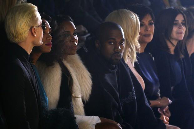 Jared Leto, Kanye West e Kim Kardashian assistem ao desfile da Lanvin, em Paris (Foto: AFP)