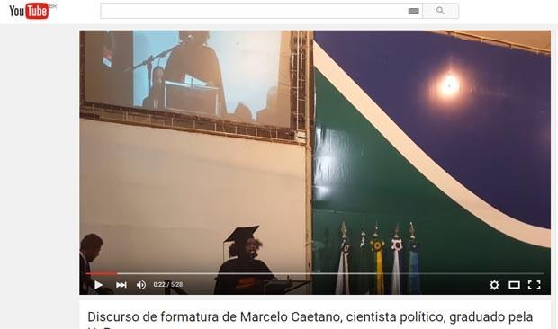 Marcelo Caetano foi orador de sua turma de Ciência Política. (Foto: Reprodução/YouTube)