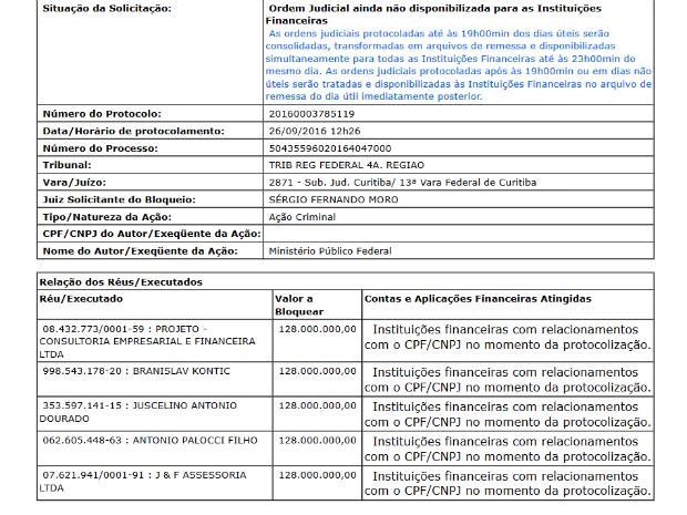 Recibo de protocolamento de bloqueio de valores (Foto: Reprodução/Justiça Federal)