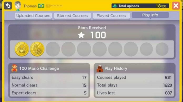 O modo 100 Mario Challenge apresenta fases aleatórias da comunidade (Foto: Thomas Schulze/TechTudo)