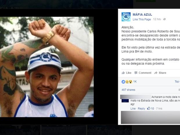 Perfil da Máfia Azul no Facebook falou sobre o desaparecimento do presidente da torcida organizada, Carlos Roberto de Souza, no sábado (23) (Foto: Reprodução/Facebook)