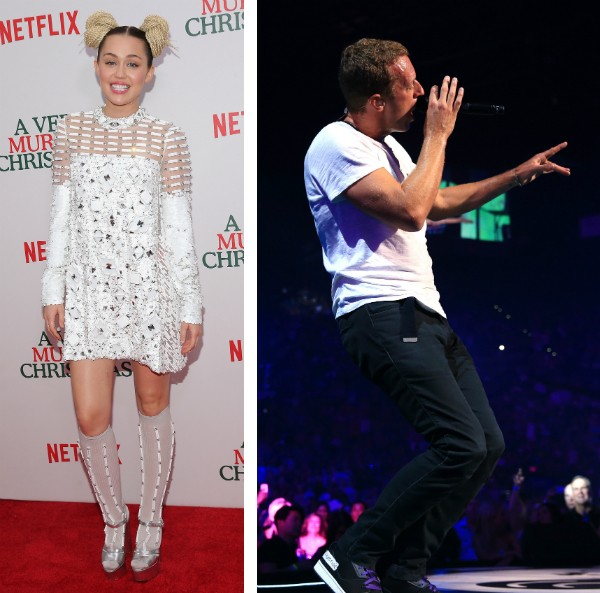 Miley Cyrus e o cantor Chris Martin (Foto: Getty Images)