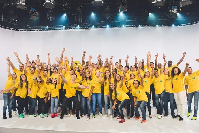 Atletas no lançamento da música do Time Brasil (Foto: Divulgação / COB)