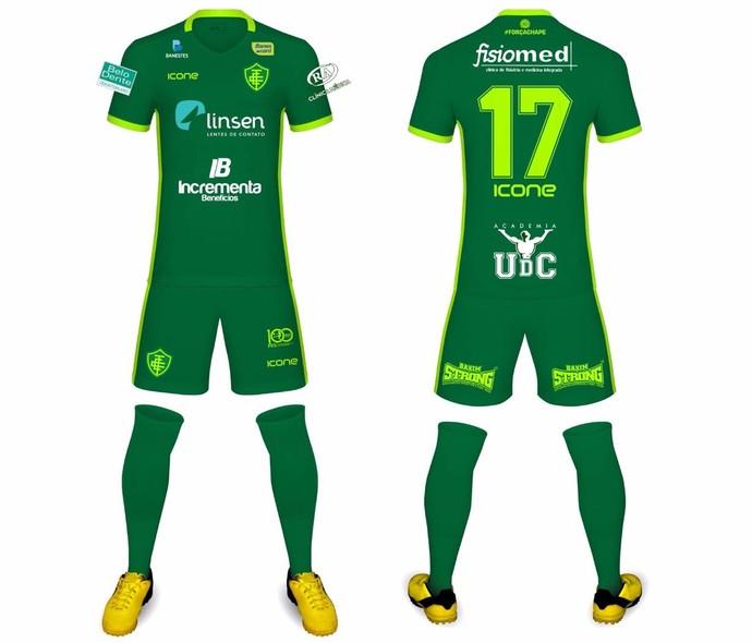 Novo uniforme do Tupy-ES, em homenagem à Chapecoense (Foto: Divulgação/Tupy-ES)