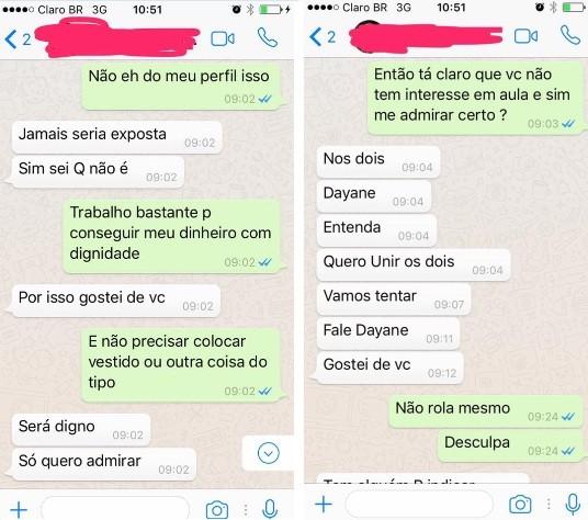 Conversas de Dayane Coelho (Foto: WhatsApp/Reprodução)
