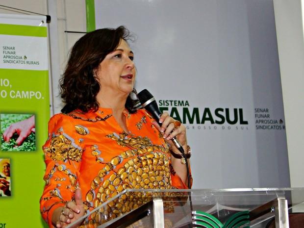 Senadora Kátia Abreu na Famasul, em Campo Grande (Foto: Tatiane Queiroz/ G1 MS)