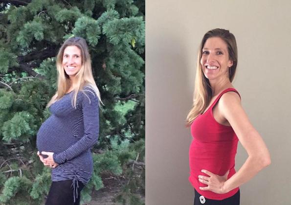 À esquerda, mãe com 40 semanas de gravidez. À direita, a mesma mãe 7 dias após o parto (Foto: Reprodução / Instagram)