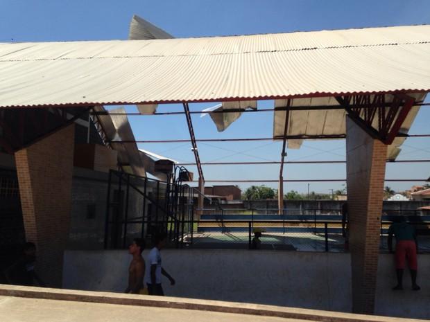 Vento arraca estrutura de telhado em Campestre (Foto: Arquivo Pessoal/Buarque Júnior)