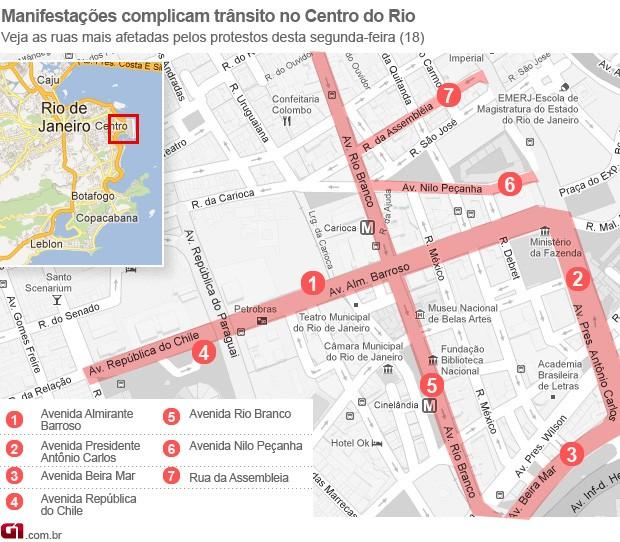 Mapa trânsito complicado no Centro do Rio de Janeiro (Foto: Editoria de Arte/G1)