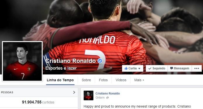 CR7 só perde para Shakira (Foto: Reprodução/Facebook)