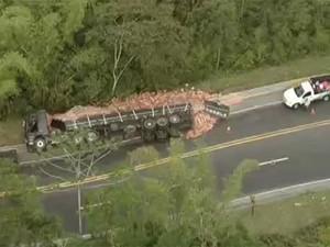 Caminhão que transportava tijolos tombou na Rodovia dos Tamoios (Foto: Reprodução/ TV Vanguarda)