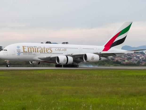 A-380 da Emirates faz primeiro pouso comercial em Guarulhos (Foto: GRU Airport/divulgação)