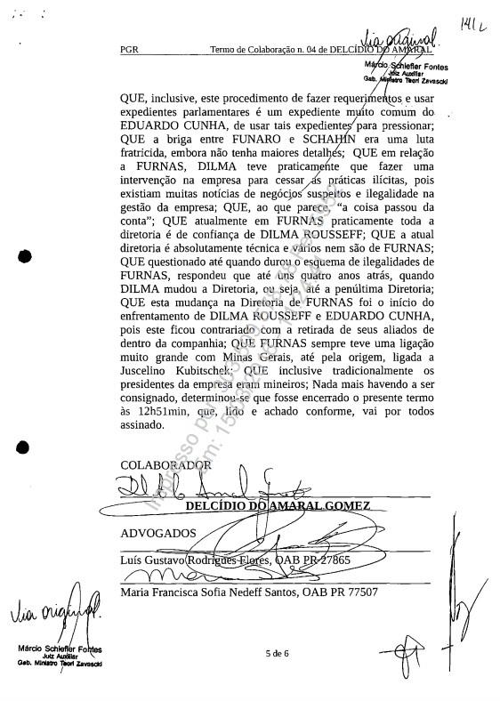 Trecho da delação do senador Delcídio do Amaral em que ele relata o início do suposto enfrentamento entre Cunha e Dilma (Foto: Reprodução/PGR)