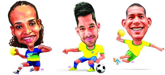 Alexandra Nascimento (handebol), Luan (futebol) e Vinícius Teixeira (handebol) (Foto: Amarildo/Ed. de Artes/A Gazeta)