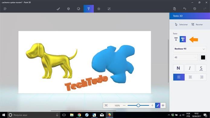 O Paint 3D também permite escrever em três dimensões (Foto: Reprodução/Pedro Cardoso)