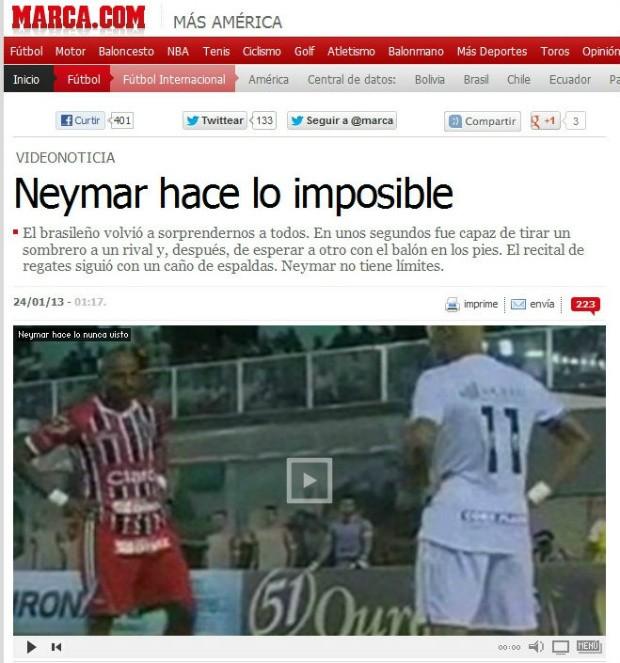 Neymar no Marca (Foto: reprodução)