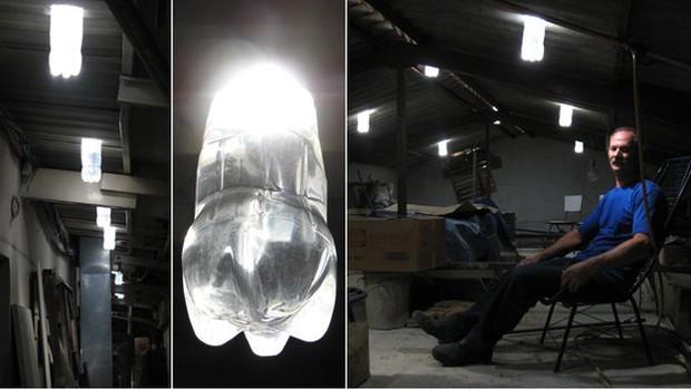 Criador e criatura: Moser criou a lâmpada durante a série de apagões que o Brasil enfrentou em 2002 (Foto: BBC)