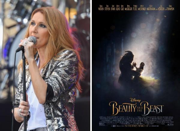 A cantora Celine Dion e o pôster de A Bela e a Fera (Foto: Getty Images/Divulgação)
