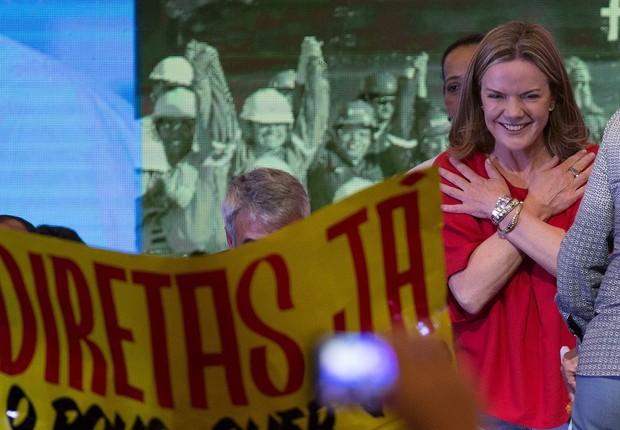 A senadora Gleisi Hoffmann participa do Congresso Nacional do PT, onde foi eleita a nova presidente do partido (Foto: Divulgação/PT)