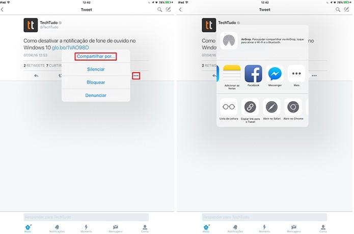 Twitter para iPhone e iPad tem botão diferentes para compartilhamento em apps (Foto: Reprodução/Elson de Souza)