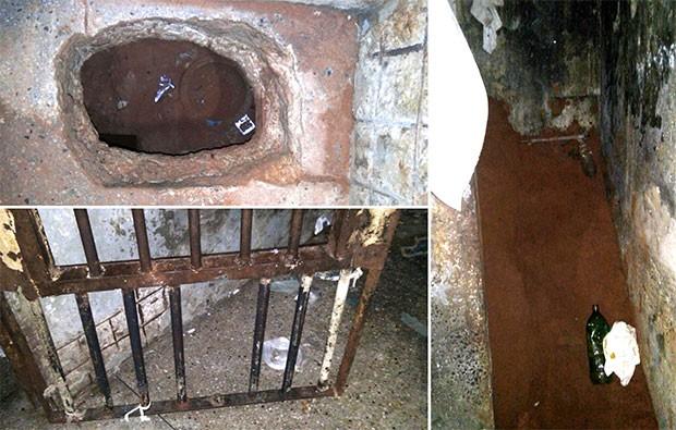 Túnel foi escavado a partir do fosso do vaso sanitário de uma das celas; grades também foram serradas   (Foto: Grupo de Operações Especiais (GOE))
