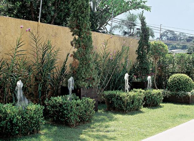 Orquídeas bambu (Arundina bambusifolia) suavizam a extensão de 6 m do muro. Mais à frente, em cachepôs de madeira com resina, três exemplares de kaizuka (Juniperus chinensis) dão volume à área. Os fícus podados (Ficus benjamina) pontuam as extremidades. (Foto: Ricardo Novelli)