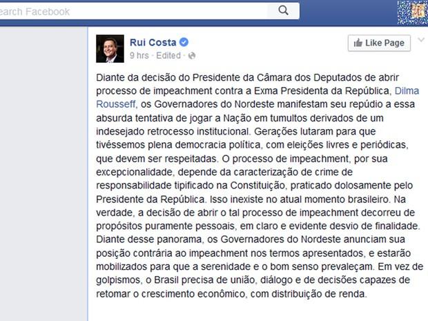 Rui Costa, governador da BA (Foto: Reprodução/Facebook)