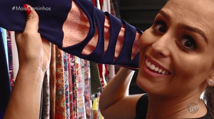 Aline Lima confere as novas tendências do mundo da moda fitness (Foto: reprodução EPTV)