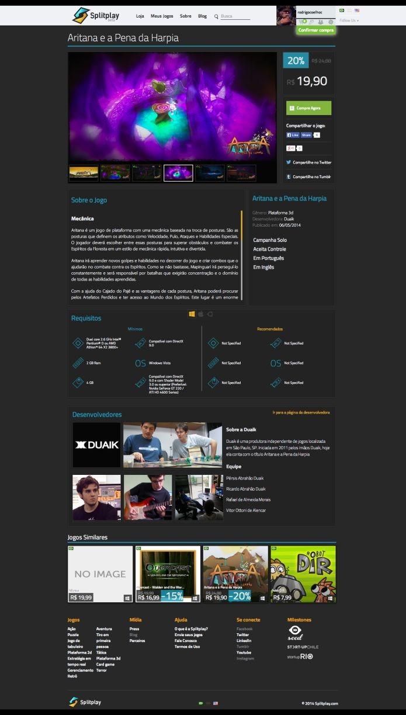 Tela de compra dos games no Splitplay (Foto: Divulgação)