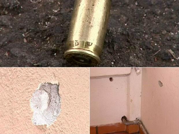 Tiros atingiram o muro da casa. Ninguém ficou ferido (Foto: Reprodução/RPCTV)