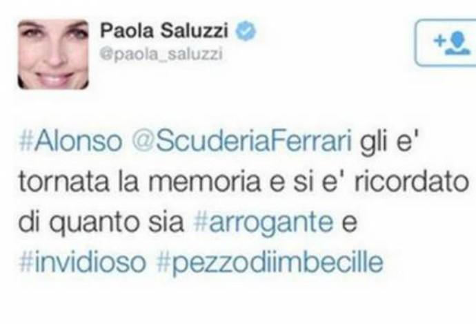 Jornalista italiana Paola Saluzzi detonou Fernando Alonso em seu perfil no Twitter (Foto: Reprodução / Twitter)