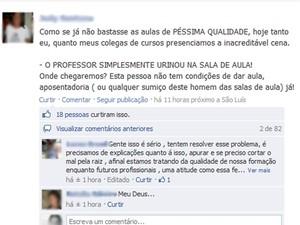 Alunos também foram ao Facebook denunciar professor (Foto: Reprodução da internet)