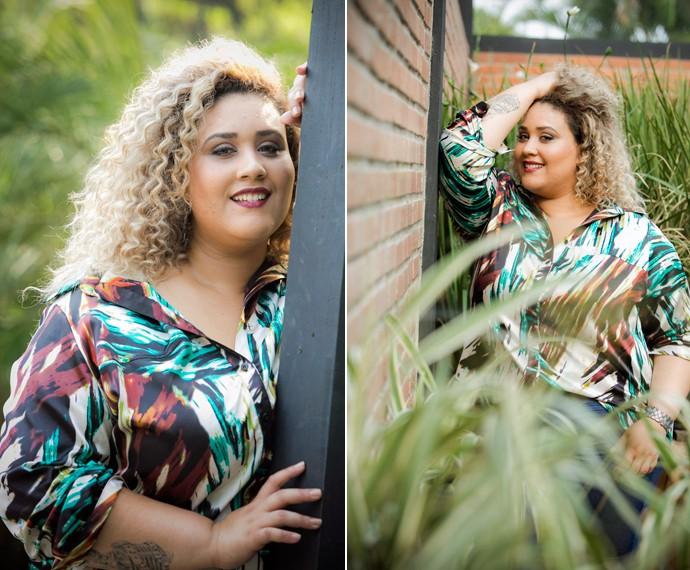 A cantora tem pouca experiência como modelo, mas já percebe uma evolução (Foto: Raphael Dias/Gshow)