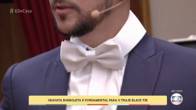 A gravata borboleta do Black Tie pode ser colorida, para aqueles que curtem um visual mais despojado e moderno (Foto: TV Globo)