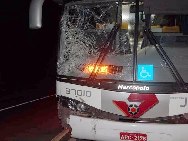Motorista do ônibus diz que tentou parar a tempo da batida (Foto: Divulgação/ ItapoNews)