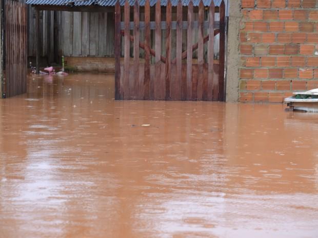 Moradores tiveram casas invadidas pela água do Rio Mororó (Foto: Clemilson Rodrigues/O Jaruense)