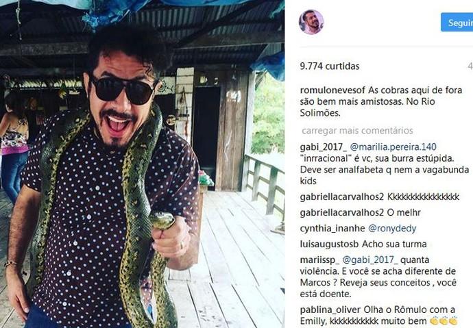 Rômulo postou foto nas redes sociais brincando com o reality (Foto: Reprodução Redes Sociais)