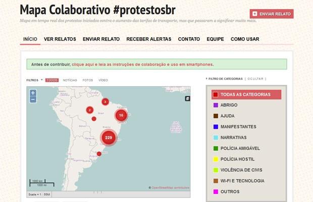 Mapa colaborativo 'Protestobr' (Foto: Reprodução)