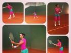 Com roupa nas cores da Mangueira, Gracyanne Barbosa joga tênis