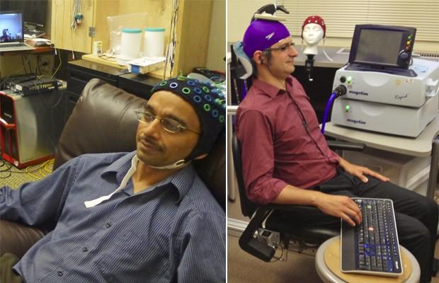 Os cientistas Rajesh Rao, à esquerda, e Andrea Stocco, à direita. Rao 'controlou' o movimento do dedo de Stocco utilizando impulsos elétricos do cérebro (Foto: Divulgação/Universidade de Washington)