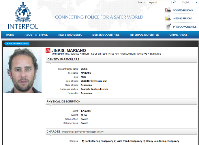 Mariano Jinkis, procurado Interpol