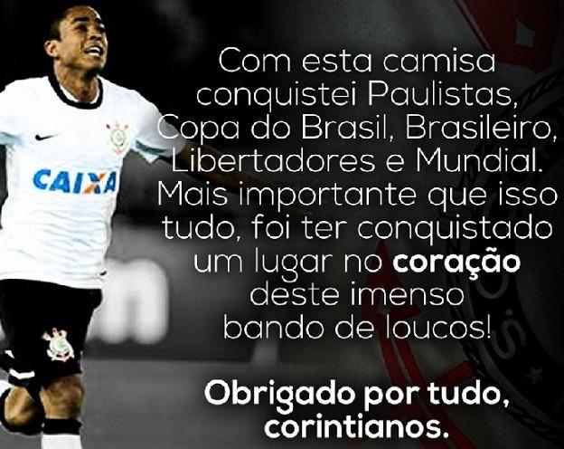 Jorge Henrique agradece a torcedores, em mensagem no Facebook (Foto: Divulgação)